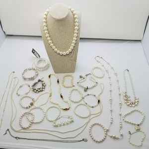 Huge Lot Vintage and New Pearl Jewelry
